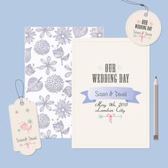 invitación, etiqueta y pegatina de enlace matrimonial