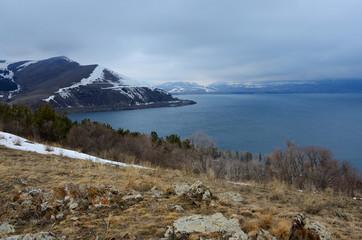 Winter landscape of Sevan - largest lake in Armenia and Caucasus