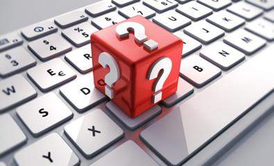 Fragezeichen-Würfel auf Tastatur