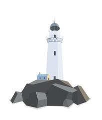 Lighthouse with house on rocks isolated flat illustration