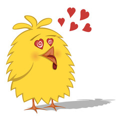 Crazy yellow chicken is in love