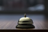 Accommodation. Service bell at an hotel table.