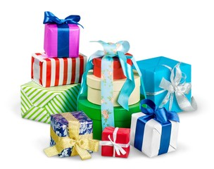 Gift. Bright gifts with bows isolated on white