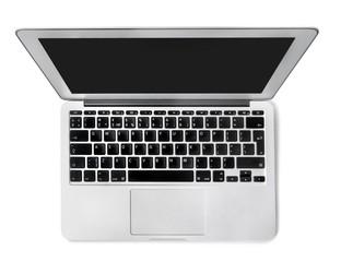 Laptop. Top view of modern retina laptop with English keyboard
