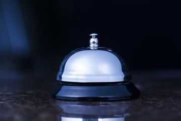 Hotel. Service bell at an hotel table.