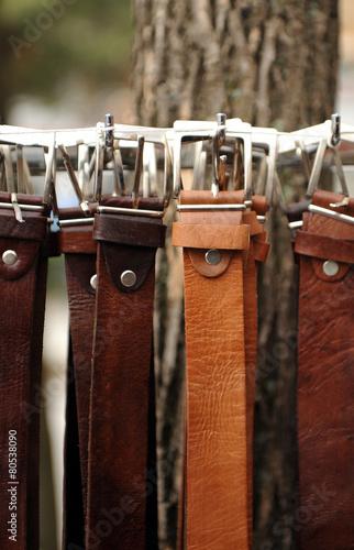 Leinwanddruck Bild Leather belts, men fashion