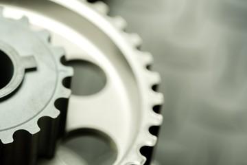 Car. Car engine closeup, focus on pulley
