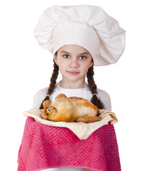 Cooking and people concept - smiling little girl in cook hat