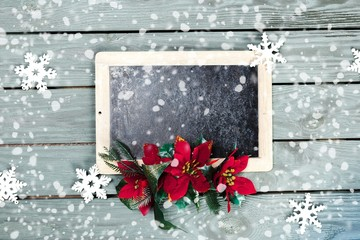 2014. Menu board for christmas with red ribbon and stars on grey