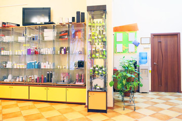 Beauty salon showcase with colorful bottles