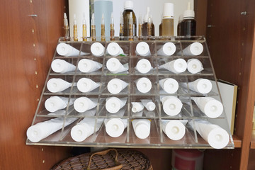 Various cosmetic cream in the beauty salon