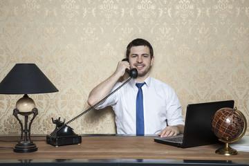 businessman leading cultural telephone conversation