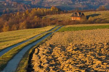 Cottage house in autumn fields, Poland.