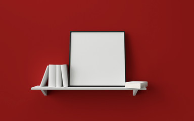 composition of a square picture frame on a shelf with books