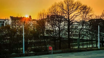 Sunset time lapse in czech city Ostrava near Sykora bridge