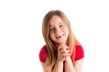blond indented girl praying hands gesture in white