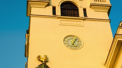 Time lapse clock on Ostrava old town hall czech republic