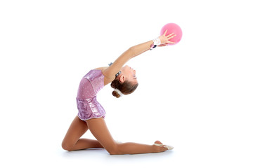 Kid girl ball rhythmic gymnastics exercise on white