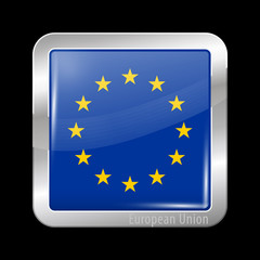 Flag of European Union. Metal Icons