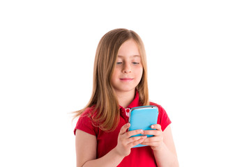 blond girl smiling writing fingers smartphone