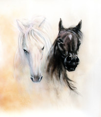 Horse heads, two black and white horse spirits, beautiful detail