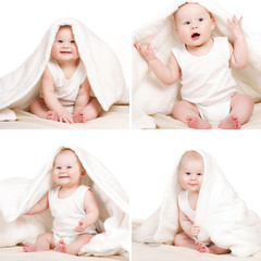 Collage wonderful baby on a white background