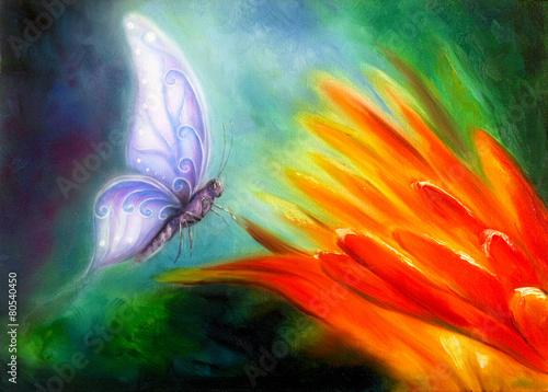 Butterfly flying towards an orange flower, beautiful detailed