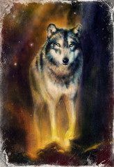 Wolf painting on canvas ,color background on paper, multicolor
