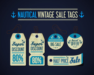 Nautical vintage sale tags collection, set with anchor, rope.