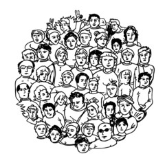 Hand Drawn People Characters Unrecognizable. Circle shaped