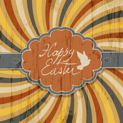 Happy Easter Card with Colorful Rays Background