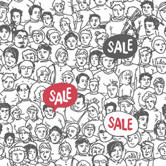 Hand Drawn People Crowd Seamless pattern with Sale Label