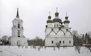 Cathedral hill in Kargopol. Belfry. Russia