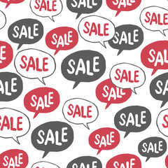 "Hand Drawn Speech Bubble with ""Sale"" Word. Seamless Pattern"