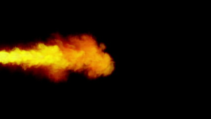 Bright Orange and Yellow Flame on Black Background