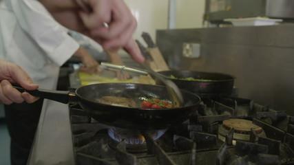 Food being prepared in a hotel or restaurant kitchen