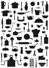 SIlhouetten Hintergrund aus Küchenutensilien