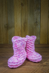 pink knitted baby socks