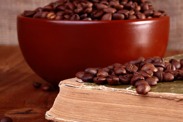 Coffee beans on book
