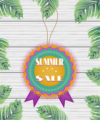 One beautiful, colorful, rounded sticker with text Summer Sale