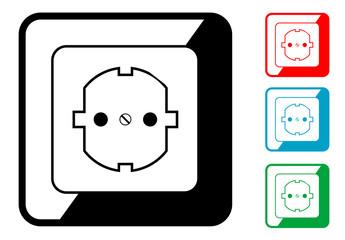 Icono simbolo enchufe en varios colores