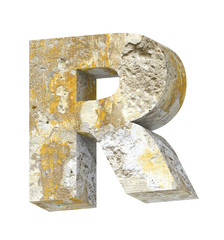 One letter from old concrete alphabet set isolated over white.