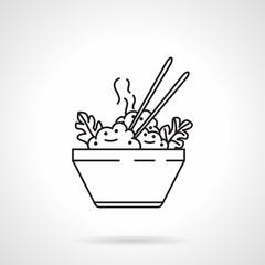 Rice bowl black line vector icon