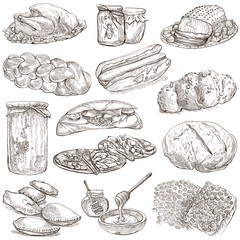 Food - hand drawn pack. Original sketches.