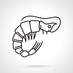 Black line vector icon for shrimp