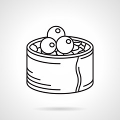Black line vector icon for sushi roll