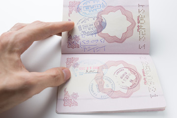 Inside of Iranian Passport with Departure/Arrival Stamps