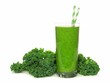 Healthy green smoothie with kale isolated on white - 80549698
