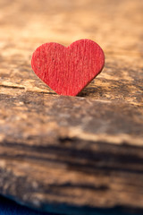 Love: Red Heart on Wood