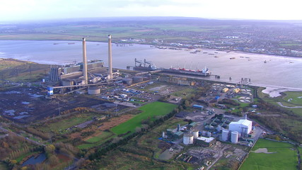 Aerial view of docks and industrial area on the outskirts of London, UK